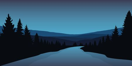 beautiful big river in a forest blue winter landscape vector illustration