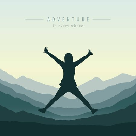 young happy girl with raised arms jumps at mountain view adventure design vector illustration EPS10