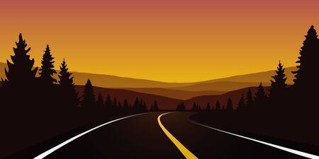 travel road in orange forest autumn landscape vector illustration Ilustracja