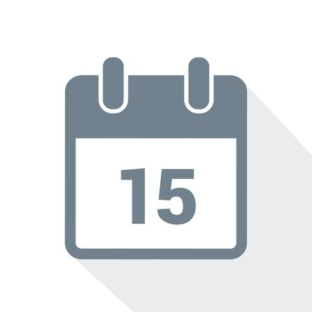 simple calendar icon 15 on white background vector illustration