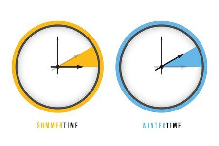 summer and winter time clock daylight saving vector illustration EPS10