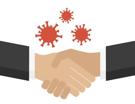 virus transmission by shaking hands info graphic vector illustration