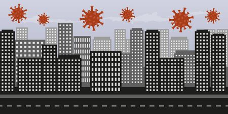 virus in big city with many skyscrapers vector illustration EPS10