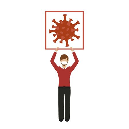 man with mouthguard holds up sign with virus symbol vector illustration