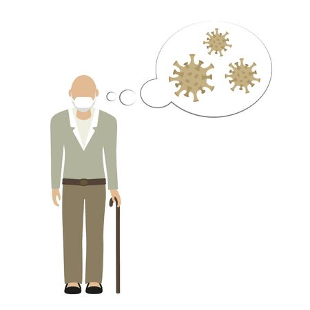 old grandpa character with mouthguard thinking about virus vector illustration Illustration