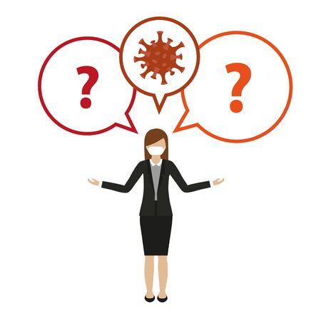 woman with mouth protection and question about virus vector illustration