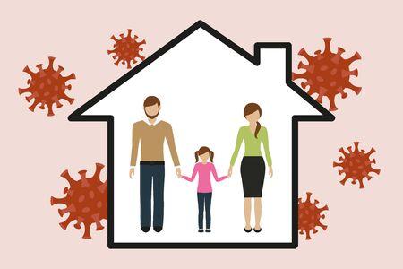 family in house quarantine virus info graphic vector illustration