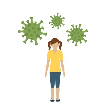 girl is infected with virus info graphic vector illustration