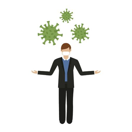 man with mouth protection and virus vector illustration
