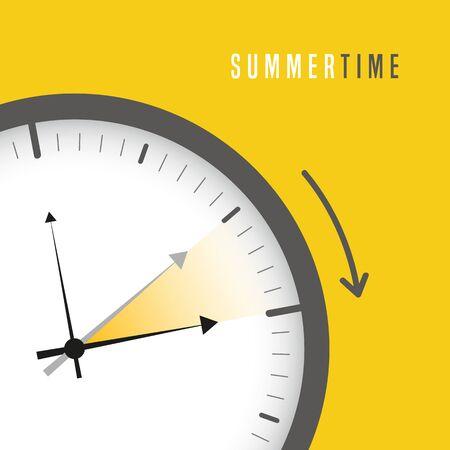 summer time clock daylight saving time sun vector illustration Vektorové ilustrace