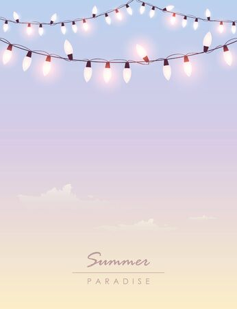 bright summer paradise sky background with fairy light vector illustration EPS10