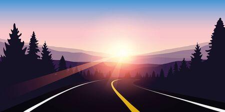 asphalt highway in a forest at sunrise purple travel landscape vector illustration EPS10