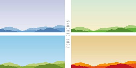 four seasons winter spring summer autumn mountain vector illustration EPS10