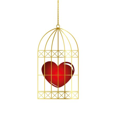 red heart in a golden bird cage vector illustration EPS10 Illustration