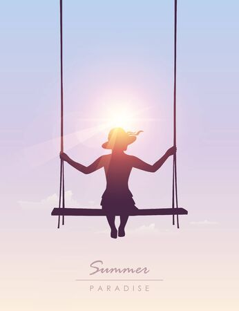 girl on a swing sunny summer sky background vector illustration EPS10