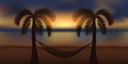 hammock and palm tree at beautiful sunrise on the beach vector illustration EPS10