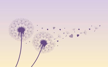 dandelion silhouette with flying seeds and hearts for valentines day vector illustration EPS10 Illustration