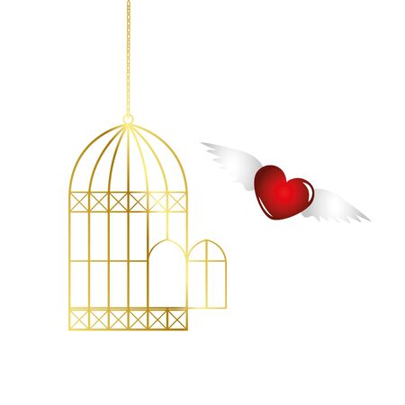 red heart is flying out of the golden cage vector illustration