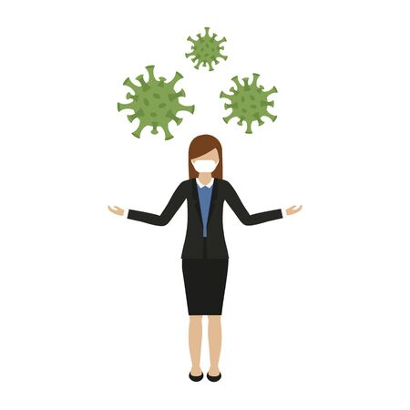 woman with mouth protection and virus vector illustration