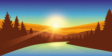 river in a forest at sunrise autumn outdoor adventure vector illustration EPS10 向量圖像