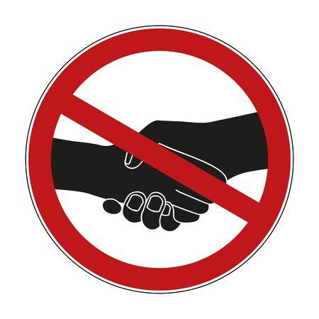 shaking hands prohibited warning sign vector illustration