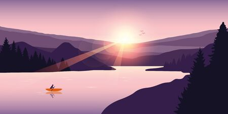 lonely canoeing adventure in summer with orange boat on the lake vector illustration EPS10 Ilustração