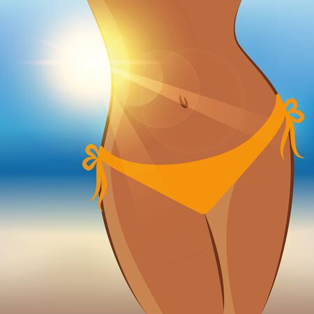sexy girl on a sunny summer day on the beach vector illustration
