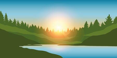 beautiful big river in a forest at sunrise landscape vector illustration