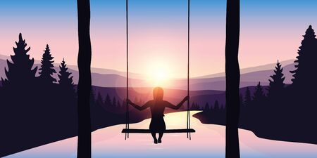 girl on a swing at beautiful big river in a forest at sunrise purple landscape vector illustration
