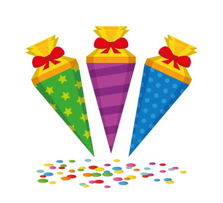 colorful pattern school candy cone with confetti vector illustration EPS10