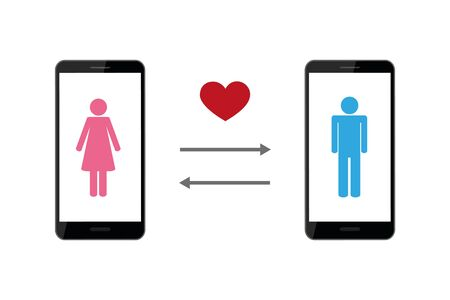 online dating app concept with man and woman pictogram vector illustration