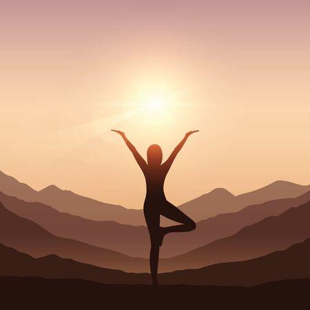 girl makes yoga on mountain landscape vector illustration EPS10 Illustration
