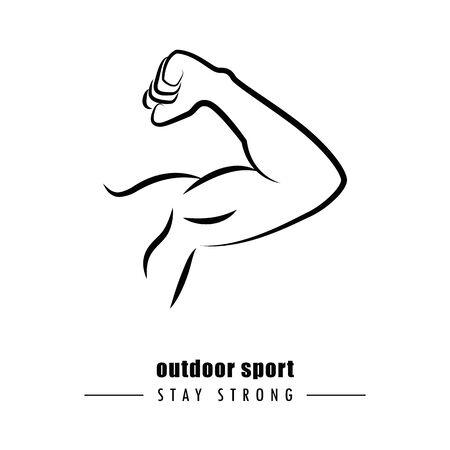 strong muscular man outline outdoor sport vector illustration EPS10 Vetores