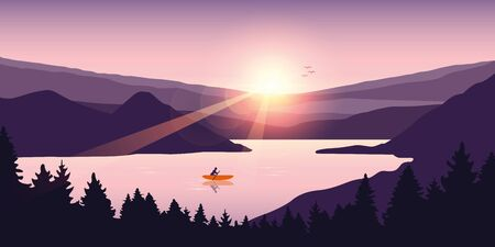 lonely canoeing adventure in summer with orange boat on the lake vector illustration
