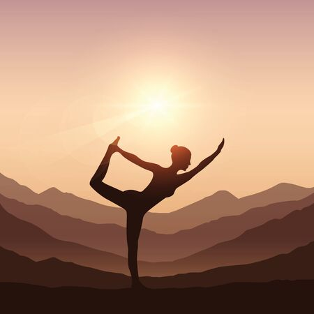 girl makes yoga on mountain landscape vector illustration