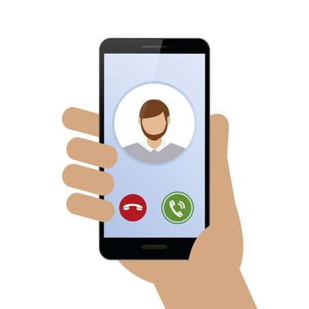 person calling with smartphone avatar isolated on white background vector illustration