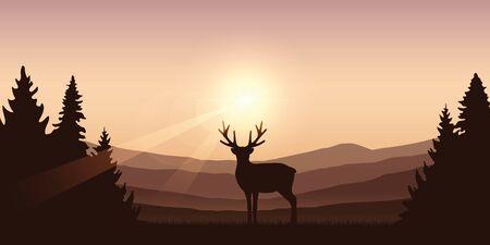 wildlife deer on autumn mountain and forest landscape vector illustration EPS10
