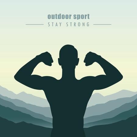 strong muscular man outdoor sport at mountain view vector illustration EPS10