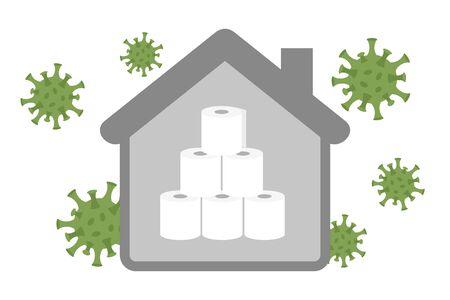 stack of toilet paper in quarantine info graphic vector illustration