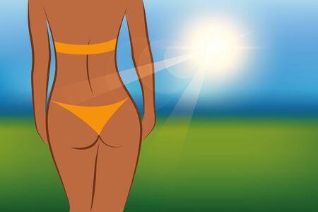 girl on a sunny summer day vector illustration Ilustração Vetorial