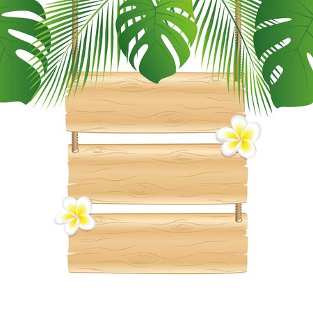blank wooden hanging sign with frangipani flower under palm leaves tropical design vector illustration