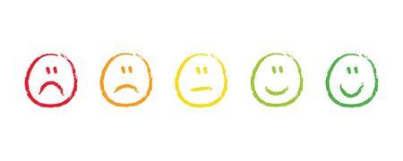 handdrawn rating satisfaction feedback emotions vector illustration EPS10