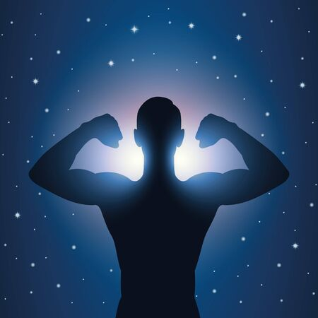 strong muscular man silhouette at night on starry sky vector illustration Vetores