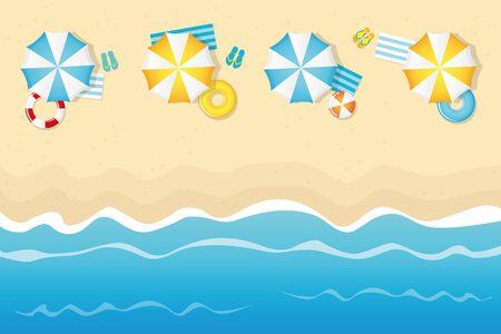 summer holiday on tourist beach with umbrella swim ring and flip flop vector illustration Ilustração