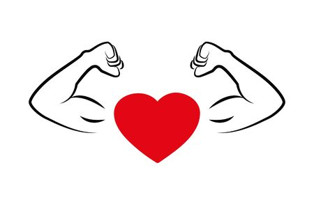 strong heart with muscular arms vector illustration