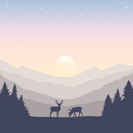 wildlife deer on autumn mountain and forest landscape vector illustration