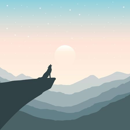 wolf on a cliff howls at full moon mountain nature landscape vector illustration EPS10 Illustration