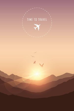 time to travel mountain landscape with birds vector illustration