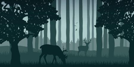 wildlife elk in green forest nature landscape vector illustration Illustration