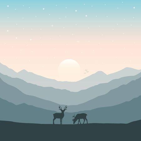 wildlife deer on autumn mountain landscape vector illustration EPS10